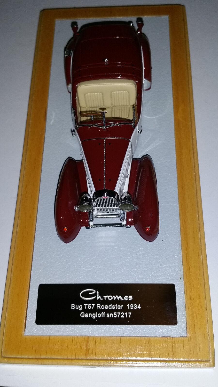 CHROMES BUGATTI type 57 ROADSTER 1934 GANGLOFF blanco BORDEAUX 1 43