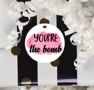 15x PINK You/'re the Bomb Tags Baby Shower Tags Soap Tags Party Bag Labels