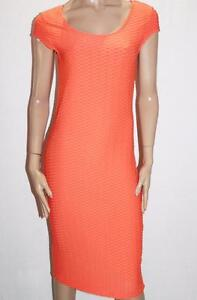 Hot-Options-Brand-Orange-Textured-Bodycon-Midi-Dress-Size-12-M-BNWT-SO97