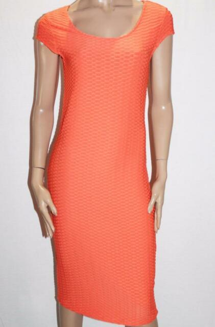 Hot Options Brand Orange Textured Bodycon Midi Dress Size 12-M BNWT #SO97
