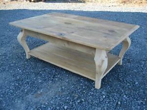 Amish made reclaimed barn wood cabriol leg coffee table unfinish **FREE SHIPPING