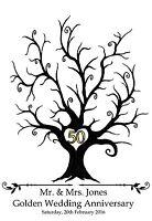 Large personalised Fingerprint Print Golden Wedding Tree-A3- Guest Book