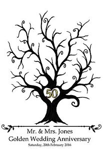 Large-personalised-Fingerprint-Print-Golden-Wedding-Tree-A3-Guest-Book