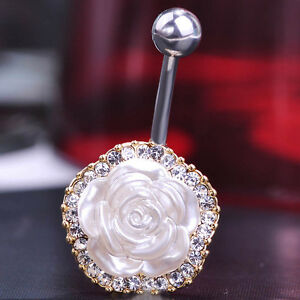 Details About Navel Belly Bars White Crystal Dangly Body Piercing Belly Button Ring Flower