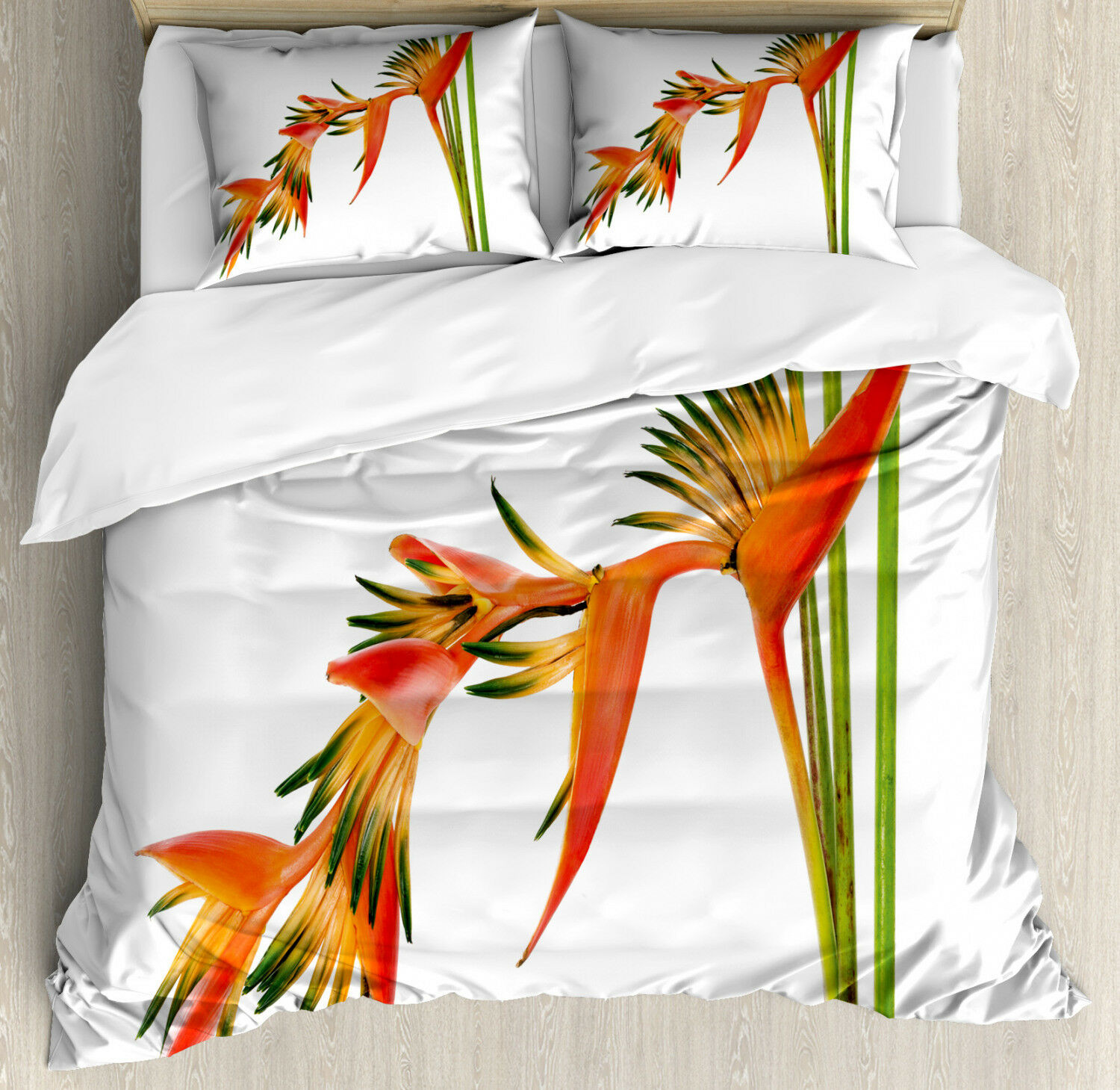 Floral Duvet Cover Set with Pillow Shams Exotic Flower Branch Print