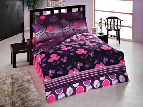 Bettwäsche 200x220 cm Bettgarnitur Bettbezug Baumwolle Kissen 4 tlg ELA LILA