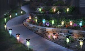 10-Piece-Set-of-Stainless-Steel-Solar-Lights-LED-Garden-Post-Stake