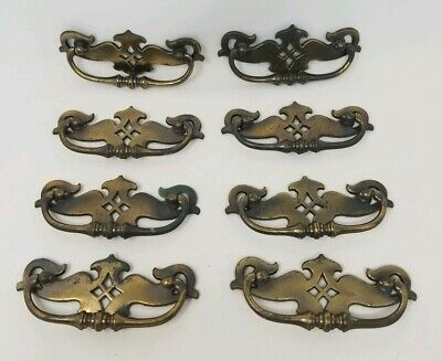 Lot of 8 Keeler Ornate Brass Drawer Pulls