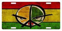 Rasta Flag Colors Custom License Plate Rastafarian Emblem Peace Version