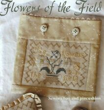 FLOWERS OF THE FIELD BLACKBIRD DESIGNS CROSS STITCH SWEING BAG & PINCUSHION CHAR