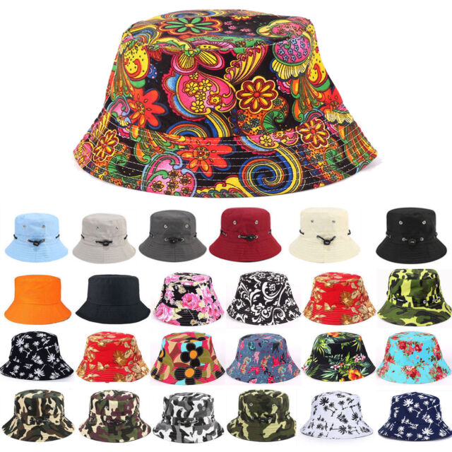 Rhubarb Red Tropical Hibiscus Floral Cotton Bucket Hat NWT Pistil Women/'s