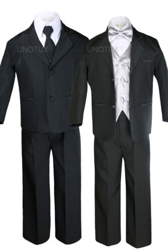 7Pc Baby Toddler Formal Wedding Tuxedo Boy Black Suits Extra Color Vest Tie S-4T