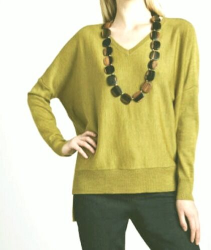 198 BNWT EILEEN FISHER Italian Merino Jersey PERIDOT HighLow Sweater Top M L XL