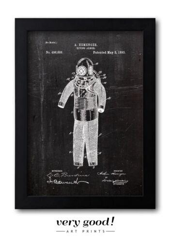 DIVING ARMOR 1839 Taucheranzug Patent Fine Art Print Galeriequalität A4 Art01
