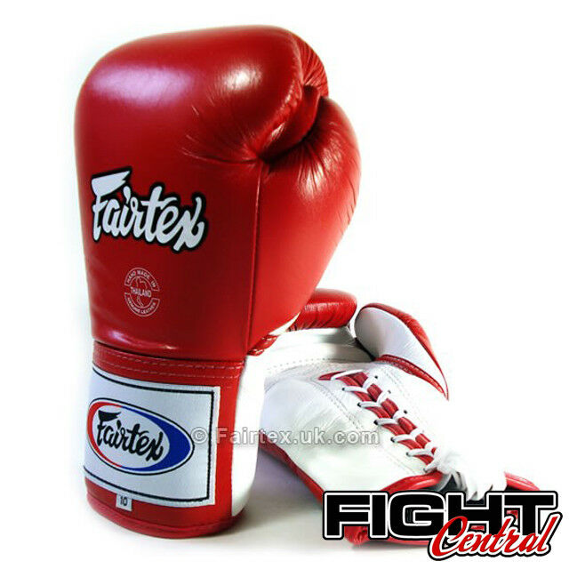 Fairtex Pro Lace Up Gloves Boxing Gloves Up - ROT - FREE P&P - Muay Thai, MMA, Boxing 23696b