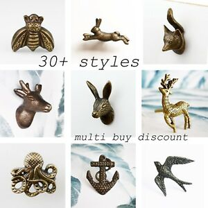 Vintage-Animal-Door-Knobs-Cabinet-Drawer-Pull-Hare-Fox-Stag-Bumble-Bee-Rabbit
