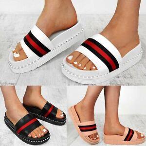 c5b80c5d Details about Womens Ladies Flat Striped Sliders Summer Sandals Mule Slides  Comfy Slipper Size