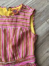 Tory Burch Hildy Valentino Dress 670$ striped dress Size 6 S Yellow Pink Pleated