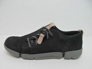 Clarks Trigenic Flex Sneakers Black Nubuck Lace Size Women's 7M