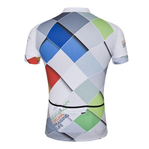 Men/'s Reflective Cycling Jersey Bike Cycle Short Jersey Shirt with Zip Pocket