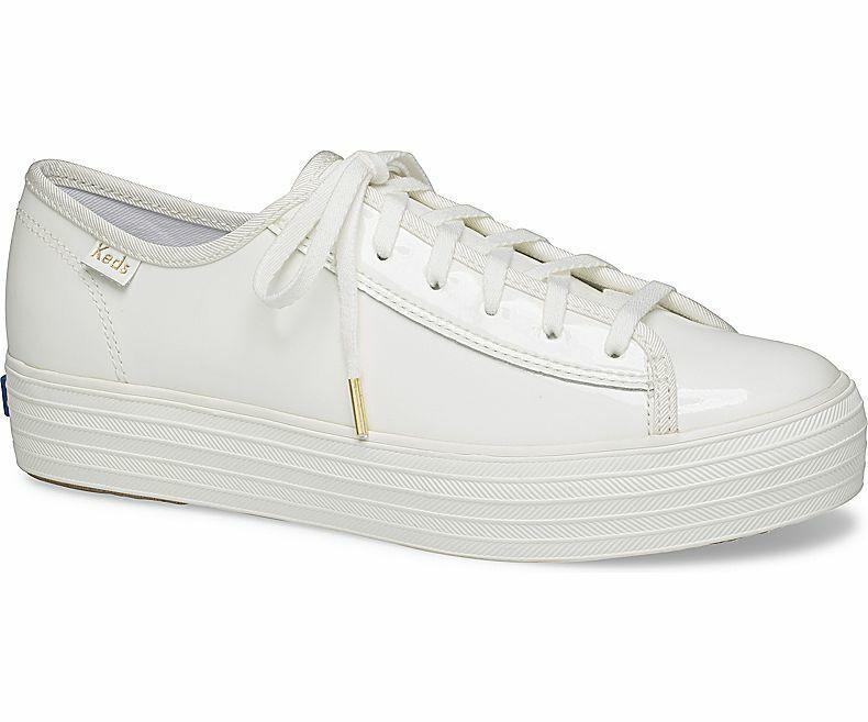 Keds WH58976 Women's Triple Kick Patent White shoes, 10 Med