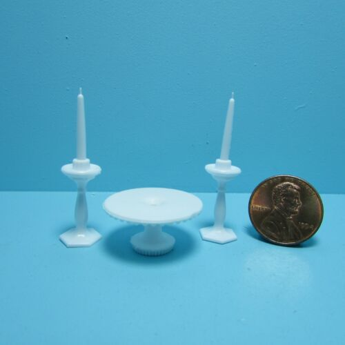Dollhouse Miniature Cake Plate /& Candle Sticks in White Chrysnbon ~ CB70W