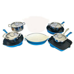 Le-Chef-13-Piece-Cookware-Set-Enameled-Cast-Iron-France-Blue-on-Sale