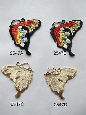 #2547 Red/black,brown/yellow Butterfly Embroidery Iron On Applique Patch