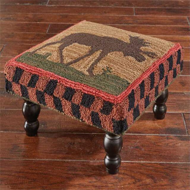 Enjoyable Footstools Moose Lodge Upholstered Footstool Foot Stool Hand Hooked Cover Cjindustries Chair Design For Home Cjindustriesco