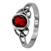 Celtic Silver Birthstone Ring January - Garnet 0548