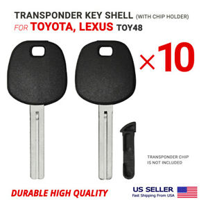 10X Transponder Key Shell Case for Lexus, Toyota With Blade TOY48 With Chip Hold