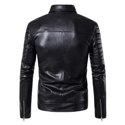 Men/'s Slim Peau D/'AgneAu Moto Motard Veste Véritable Veste noire en cuir