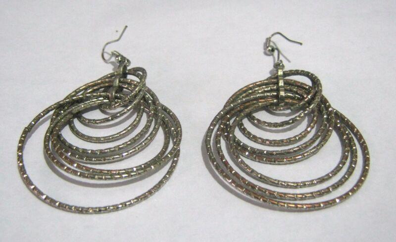 Lovely Silver Tone Metal Many Hooped Dangle Style Earrings Approx 2 Ins Long