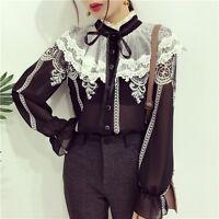 Ladies Retro Lace Floral Chiffon Blouses Shirts Lolita Ruffle Puff Sleeve Gothic