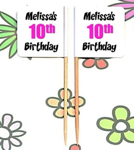 24 Personalised Girls 10th BIRTHDAY Party PINK FOOD FLAG PICK Cup Cake Topper