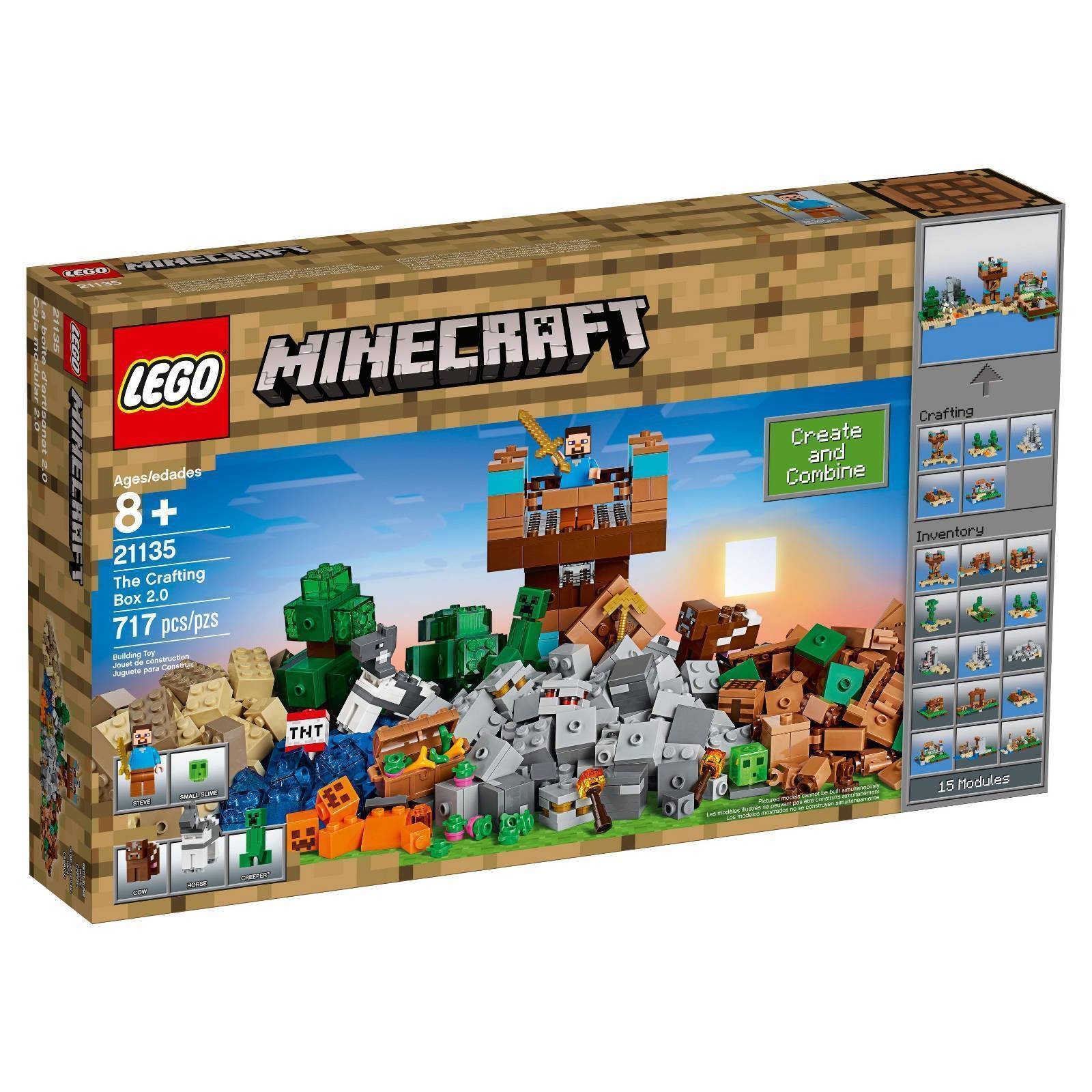 21135 THE CRAFTING BOX 2.0 minecraft lego legos set NEW steve HORSE cow SLIME