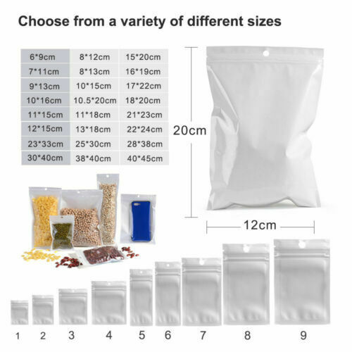 White Clear ZipLock Bags Plastic Retail Packaging Pouches Resealable /& Hang Hole
