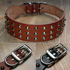 Best-Rivets-Genuine-Leather-Dog-Collars-with-Studs-Heavy-Duty-for-Dogs-XS-S-M-L