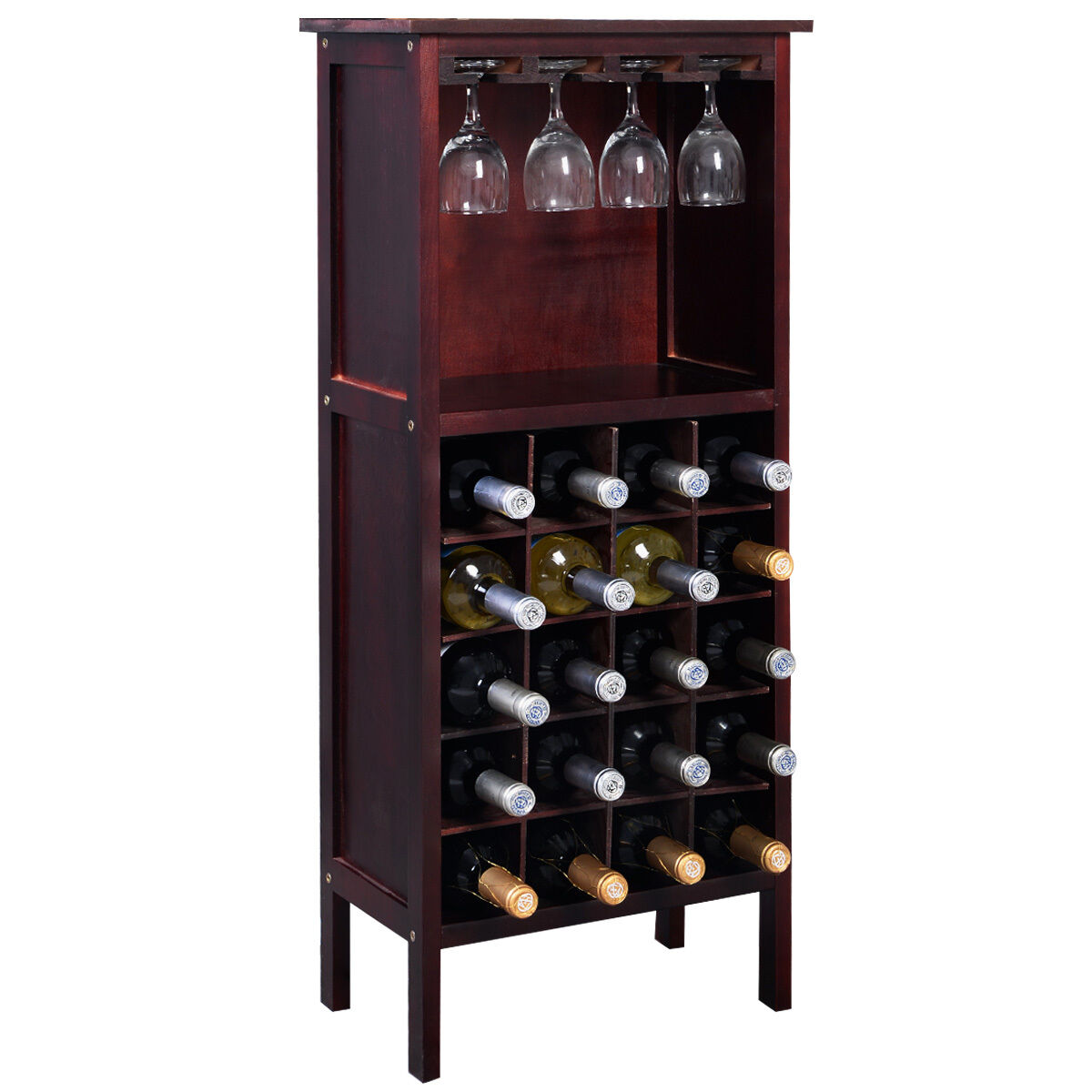 Solid Wood Liquor Cabinet Bar Furniture Rustic Display Rack Wine Whiskey Storage