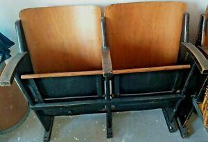 Sedie Cinema Legno Vintage.Dettagli Su 2 Sedie Cinema Vintage Reclinabili In Legno Ottimo Stato Bellissime Anni 40 50