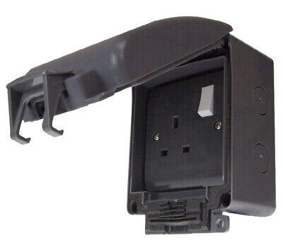 BG Double Socket Switched 13A Amp Weatherproof IP66 2G Gang Grey Outdoor Garden
