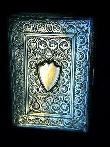 Antique-Sterling-Silver-9ct-Gold-Shield-Engraved-Cards-Case-Victorian-Rare-C1887