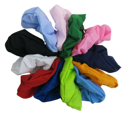 Plain Poly Cotton Hair Tie Scrunchie Colourful Ponytail Holder Fast UK Post