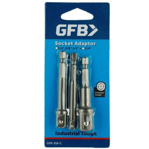 3//8 /& 1//2 Inch Square Drive 3 Pieces GFB SOCKET ADAPTOR SET 1//4 Inch Hex 1//4