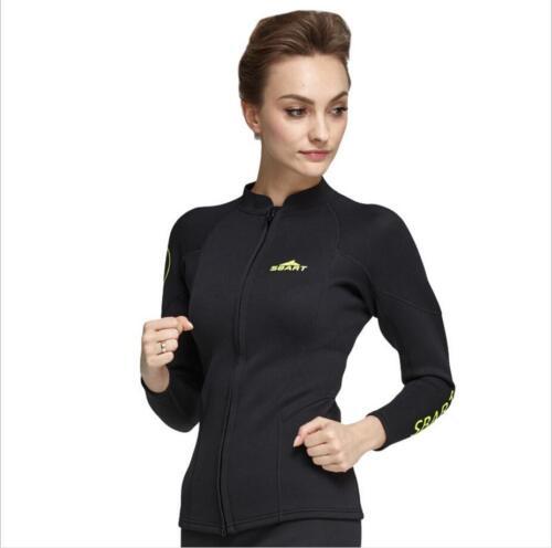 Women 2mm Neoprene Diving Long Sleeve Swimsuit Black Swimwear Zipper Coat Jacket