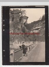 (F6978) Orig. Mini-Foto Pottenstein, Felsformationen bei der Schüttersmühle, Fra