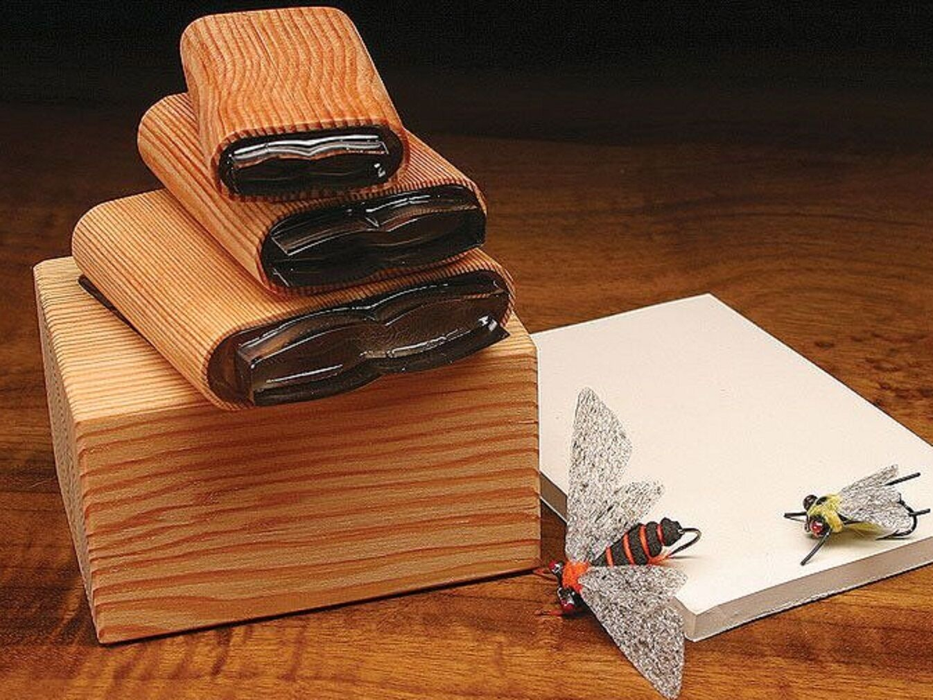 DELUXE UNIVERSAL BUG BODY 3 CUTTER SET  with Wood Caddy Box  Fly Tying