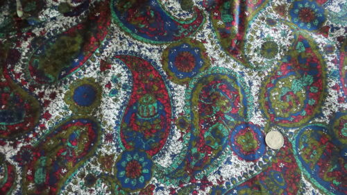 """Vintage Polished Cotton Fabric LARGE PAISLEY, BLUE,RED,TURQUOISE,WHITE 1 Yd/44"""""""