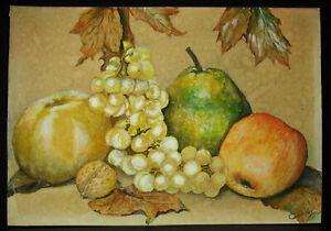 Nuesse-blatt-Ahorn-amp-Fruechte-Zeichnung-Original-XIX-Signatur-ab-Dec-Still-Alive