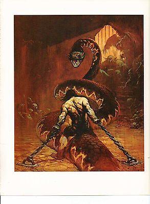 "1975 full Color Plate ""Chained"" by Frank Frazetta Fantastic Giant Snake GGA"